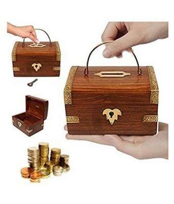Holy Ratna WOODEN PIGY BANK / COIN BOX FOR KIDS
