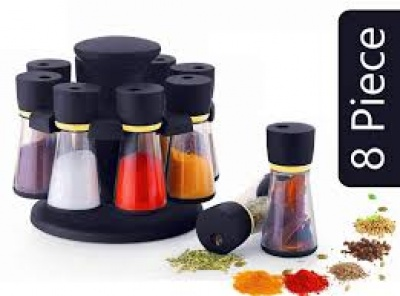 Spice Rack Condiment Set Polycarbonate Spice Container Set of 8