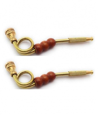 Holy Ratna Gold 11 cm Brass Pipe - Pack of 2