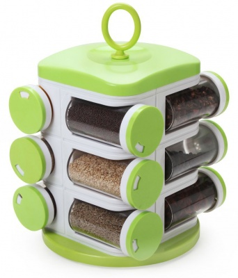 Ankur Green 12 Containers Spice Rack, Polycarbonate Spice Container Set of 1