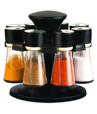 Holyratna Premium 8 Jar Spice Rack Condiment Set Polycarbonate Spice Container Set of 8