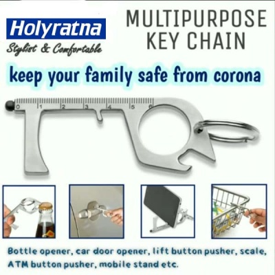 Holyratna Multi Purpose Covid Corona Virus Safety Keychain | Safe Touch Tool | Metal | Qty-1