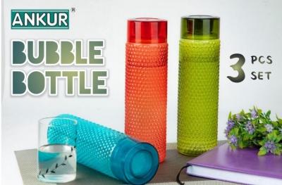 Holy Ratna Bubble Shape Designer Water Bottle 1000 ml Bottle (Pack of 3, Multicolor, Plastic)