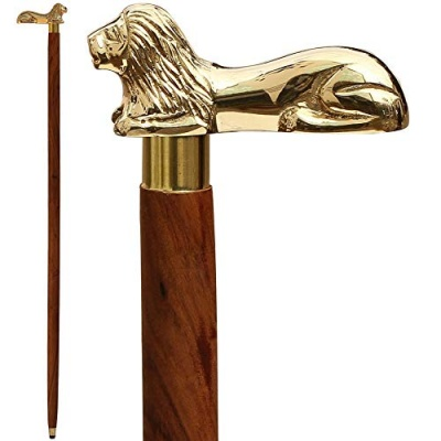 Holy Ratna Antique Wooden Walking Sticks With Lion Handle