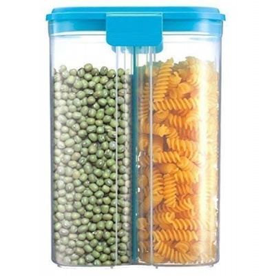 Holy Ratna  2 Sections Air Tight Transparent Storage Container for Food, Grain, Cereal Kitchen, Masala