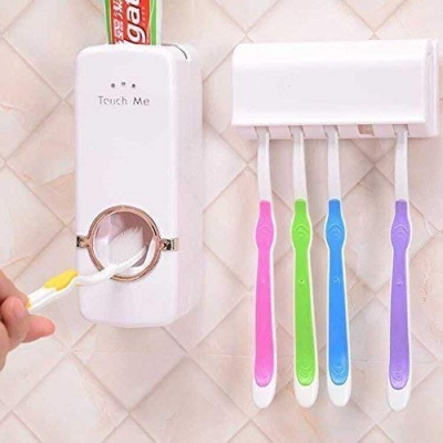 Dream Value enterprise Toothpaste Dispenser and Tooth Brush Holder for Home Bathroom Accessories.