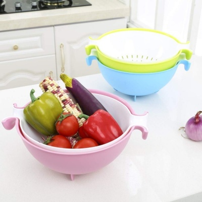 Holy ratna  Multifunctional Washing Vegetables and Fruit Draining Strainer Detachable Double Layer Drain Baskets Bowl