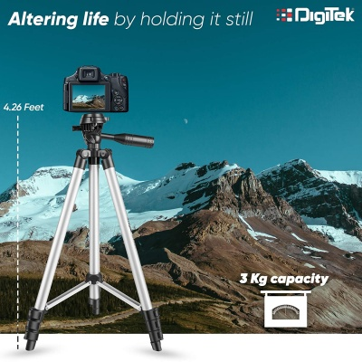 Aluminium Adjustable Portable and Foldable Tripod Stand Mobile Clip and Camera Holder with Bag