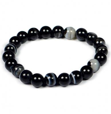 Sulemani Certified Sulemani Hakik Stone Bracelet for Unisex (8 mm Beads)