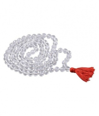 Holy Ratna Clear Crystal Quartz Rosary Sphatik Jaap Mala (7 mm/108 and 1 Beads) with Certification