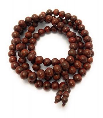 Holy Ratna Lal Chandan Dark Brown Red Sandalwood 108+1 Beads Jap Mala Bead, Size 8 mm for Men and Women