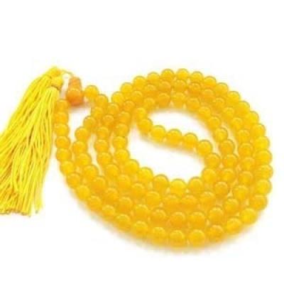 Holy Ratna Yellow Hakik Mala (Agate Rosary) Akik Mala for Pooja Meditation