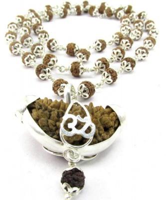 Holy Ratna Hand Picked 54 Beads Of 5 Mukhi Rudraksha + 1 Mukhi Premium Quality Rudraksha Made in Silver Silver Chain