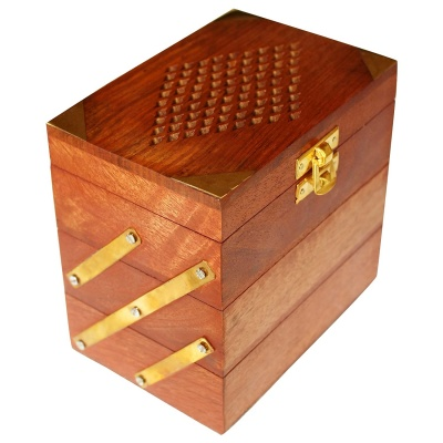 Holy Ratna Handcarved Wooden Jewellery Box Brass Inlay (3 in 1)