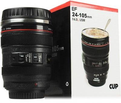 Dream value Coffee Mug, Camera Lens Travel Thermos, Stainless Steel Insulated Cup with Easy Clean Lid (Black)