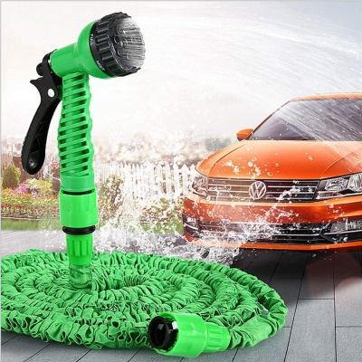 Car Spray 50 ft Hose Pipe Gun with Brass Nozzle and Expandable Nozzle Flexible Water Hose Pipe with Spray Gun and 7 Adjustable Modes