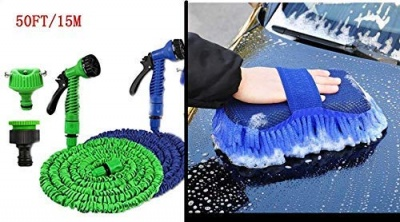 Combo of Car Spray 50 ft Hose Pipe Gun with Brass Nozzle and Car Washing Sponge with Microfiber Washer Duster (7 in 1 Gun, 50 FT Pipe, Car Washer) Multi Color