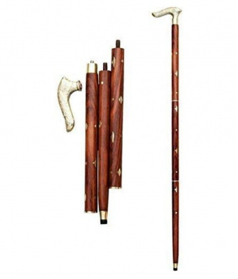 Holy Ratna Handmade Folding Walking Cane with Round Brass Tip (Brass), Walking Cane with Comfort Grip Handle, Walking Stick Brown Color Size Height 37 Inch