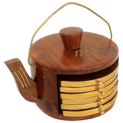 Holy Ratna Wooden Coaster Set of 6 Tea Pot Shape Coaster with Brass Design Coffee Table/Kitchen/Dining Table/Kettle Coaster