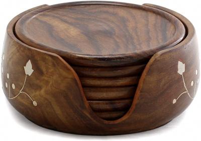 Holy Ratna Wooden Beautiful Tea Coaster Lotus Set of 6 Plate Handmade 3.5 Inch