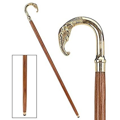 Holy Ratna Elephant Walking Stick -Wooden Cane Walking Stick for Men and Women 36 inches Brown