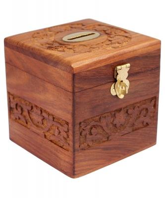 Holyratna Handmade Wooden Piggy Bank - Money Bank - Coin Box - Money Box - Gift Items for Kids