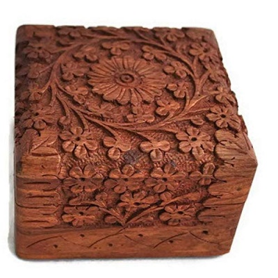 Handmade Wooden Jewellery Box for Women Wood Jewel Organizer Hand Carved with Intricate Carvings Gift Items - 4x4 inches, (Brown)...