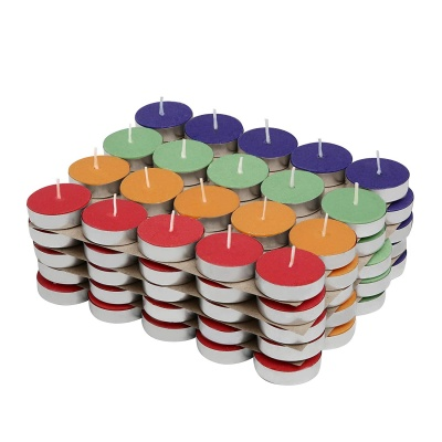 Holyratna Colored Wax Tealight Candles (Set of 100, Unscented)