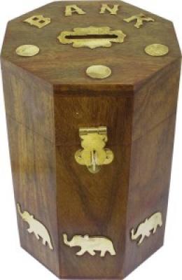 Holyratna wooden money bank kids piggy coin box gifts | ross wood money bank Brown
